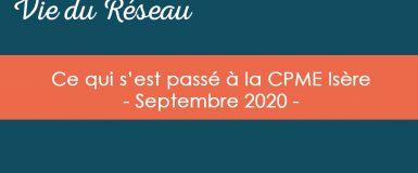 Actualités CPME Isère : Septembre 2020